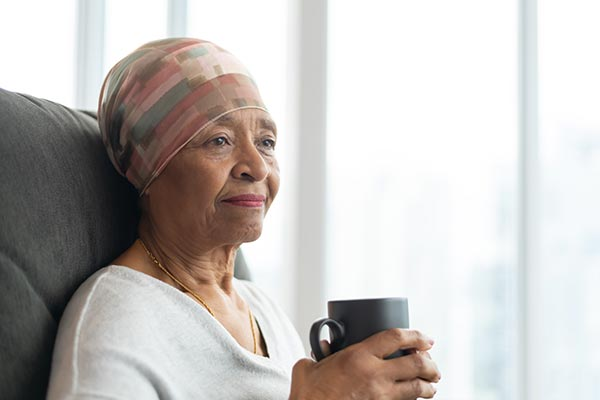Contemplative Senior Woman With Cancer